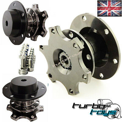 GREY Ti QUICK RELEASE SNAP OFF STEERING WHEEL HUB BOSS KIT fit MOMO SPARCO OMP