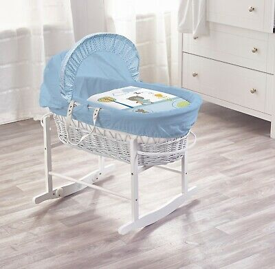 Beary Nice Blue White Wicker Moses Basket on Deluxe Rocking White Stand