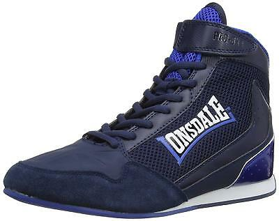 New Lonsdale Cagney Junior & Senior Boxing Shoes Mens Hi top Boots Black Navy