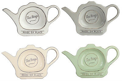 TG Pride Of Place Tea Bag Tidy Holder Tray Cool Grey White Old Green Old Cream