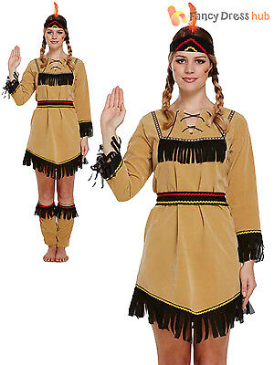 Ladies Deluxe Red Indian Costume Adult Pocahontas Native American Costume Outfit