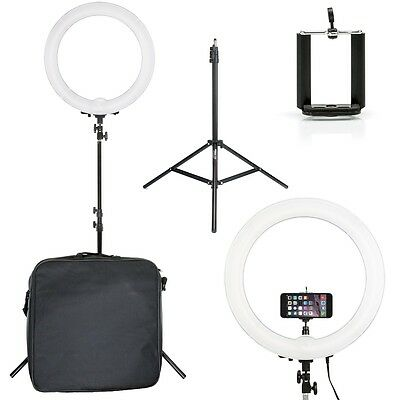 """Prismatic Halo 18"""" Ring Light EURO with Phone Holder & 6' Light Stand 240V"""