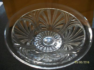 Clear glass pedastal bowl with sea shell pattern