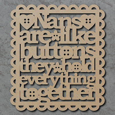 Laser Cut /'Best Great Nanny/' Wooden MDF Craft Quote Sign with Shapes A34