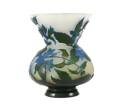 Emile Galle Art Glass Cameo Acid Etched Concaved Vase, c1900 Iris Flower in blue