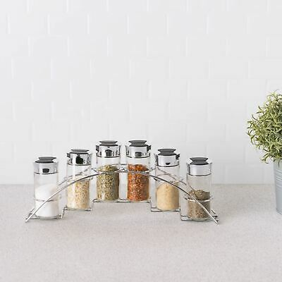 Home Basics NEW 6 Piece Half Moon Glass Spice Set with Rack - SR10437