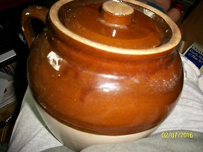Vintage Robinson Ransbottom Bean Pot Blue Crown # 3 Crock 2 Toned Brown with Lid