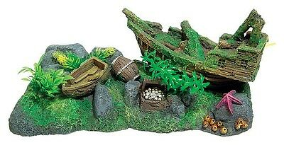 Large Shipwreck Scene & Plants Aquarium Ornament Fish Tank Decoration