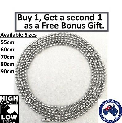 316L Stainless Steel Ball Necklace Chain Silver Colour Various Sizes 1.5mm Wide