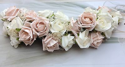 Vintage Pink Ivory Roses Small Wedding Table Garland Shabby Chic Flowers