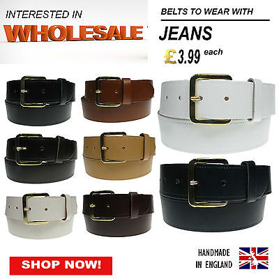 Wholesale Mixed Job Lot Of Real Leather Jeans Trouser Belts Handmade In England