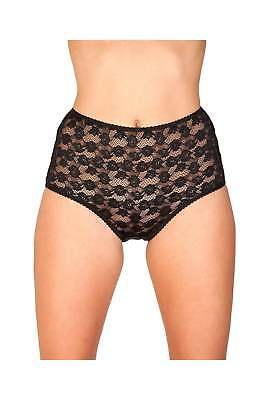 Camille Womens Ladies Underwear Black Floral Lace Front Maxi Brief Knickers