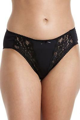 Camille Womens Ladies Lingerie Black Sheer Lace Mesh Brief Knickers