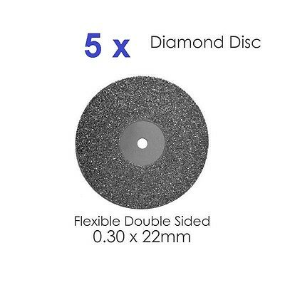 Diamond Disc For Dental Lab Double Sided Disk 0.30 X 22mm- X 5   (#2)