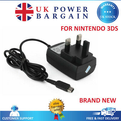 3 PIN UK MAINS CE RHOS AC WALL CHARGER FOR NINTENDO DSi DSiXL NDSi 3DS XL 2DS