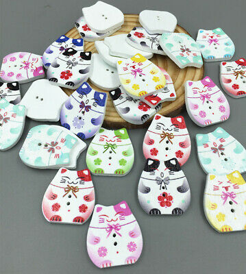 DIY Wooden buttons Sewing Scrapbooking Cat pattern Mixed Colors button 25mm