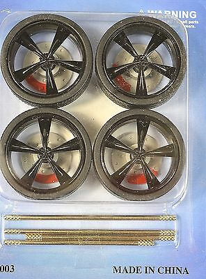 Low Profile Black 4 Wheel Set 1:18 With Brake Discs Lopro 2003Bk 5 Solid Spoke