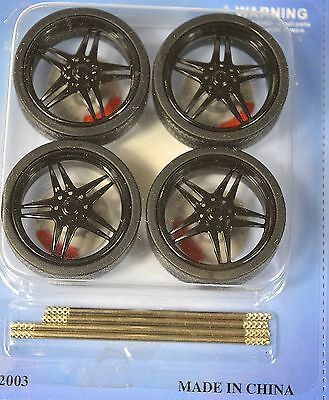 Low Profile Black 4 Wheel Set 1:18 With Brake Discs Lopro 2003Bk 5 Spoke Nrw Ctr