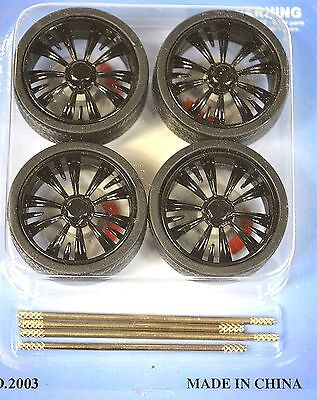 Low Profile Black 4 Wheel Set 1:18 With Brake Discs Lopro 2003Bk 10 Spoke