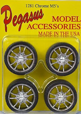 M5 Chrome Low Profile 4 Wheel Set 1:24 Pegasus 1281