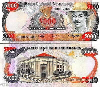 Nicaragua 1985, 5000 Cordobas , Banknote About aUNC, Unused