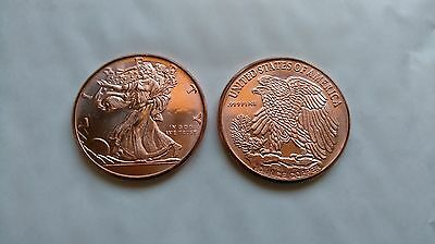 Lot of 2 x 1 oz Copper 'Walking Liberty' Coin / Round