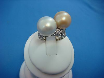 Stunning Platinum And 18K Gold 1.40 Ct T.w. Diamonds South Sea Large Pearls Ring