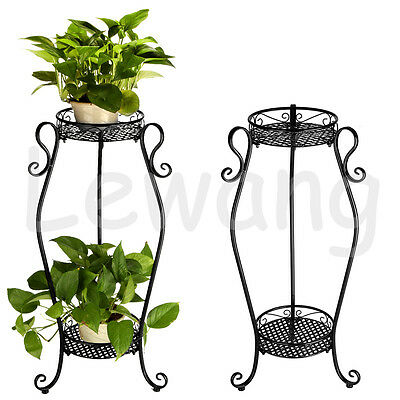 Metal Lacy 2 Tier Plant Display Stand DIY Garden Shelf Flower Indoor Pot Rack
