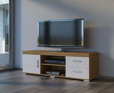 TV Stand Widescreen 2 Drawers 1 Door Oak White Gloss Suitable 65 Inch Televison