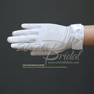 Girl's Satin Gloves with a Satin Bow & Flower, Pearl in the center