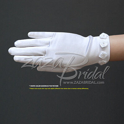 Girl's Satin Gloves with Rosettes detail and Pearl in the center