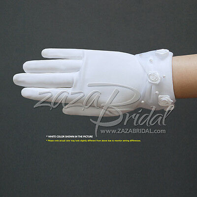 Dull matte satin girl's gloves w/ faux pearl & rose accents sheer organza cuff