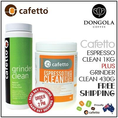 CAFETTO 1KG ESPRESSO CLEAN Coffee Machine Cleaning Powder + GRINDER CLEANER