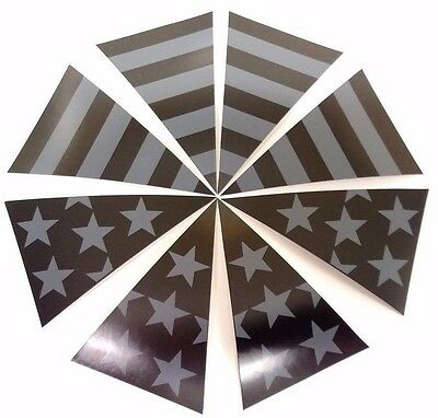 8 piece Black Reflective Subdued Fire Helmet American Flag Decal Triangles