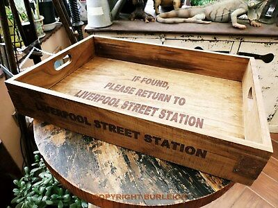 Vintage Style Wooden Serving Tray, Liverpool Street Station, Railway