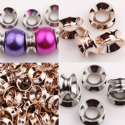 Hot 25/50Pcs Rose Gold/White Charm CCB Crafts Finding Spacer Beads Caps 12x6MM