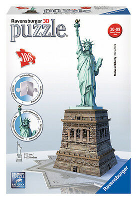 12584 Ravensburger Statue Of Liberty 3D Puzzle 108Pc [3D Jigsaw ] New In Box!