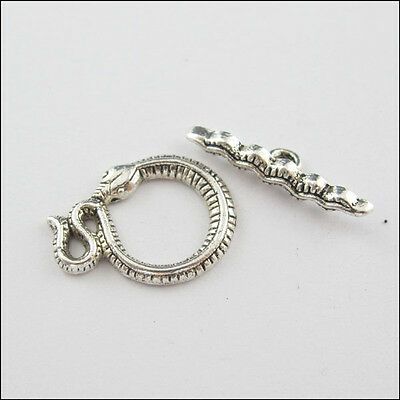 6 New Charms Tibetan Silver Tone Snake Connector Toggle Clasps