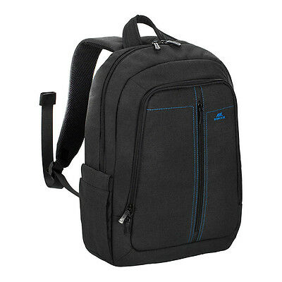 "Rivacase 7560 Water Resistant Black Canvas Lightweight Backpack For 15.6"" Laptop"