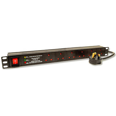 LMS DATA 6 Way 19 Inch Rackmount PDU with Surge Protected UK Plug 3 Metre Cord