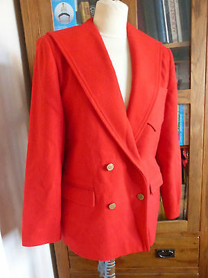 Vintage 80s red wool blazer jacket double breasted 12 VGC classic nautical
