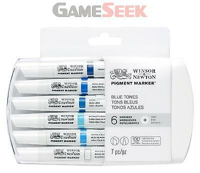 Winsor And Newton Pigment Marker 6 Set Blue Tones - Toys Brand New Free Delivery