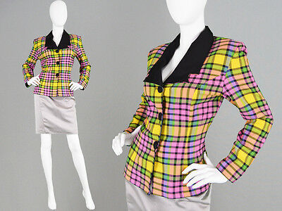 Vintage 80s Plaid Jacket Vivid Pink & Green Check Fitted Blazer Tailored Tartan