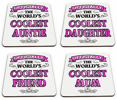 Worlds Best Aunt To Be Novelty Glossy Mug Coaster Tableware, Serving & Linen Pink