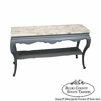 French Louis XV Style Gray Painted Marble Top Console Table