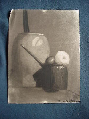 Ruth Droitcour Ettling Charcoal Drawing Of Butter Churn