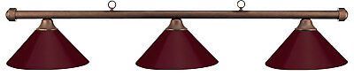 HJ Scott Autumn Rustic Bar/Burgundy Metal Shade Billiard Pool Table Light