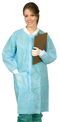 DEFEND Full Length Disposable Lab Coat. Blue. 10/pack.