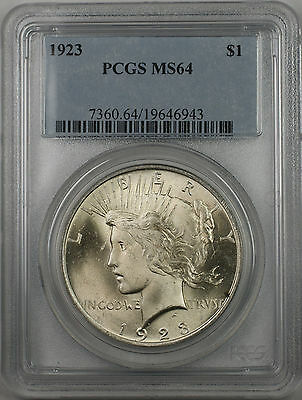 1923 Silver Peace Dollar $1 Coin PCGS MS-64 (BR-12 O)
