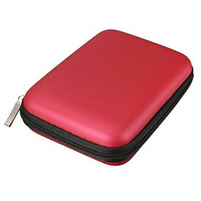 "Portable Hard Disk Drive Shockproof Zipper Cover Bag Case 2.5"" HDD Bag Red LW"